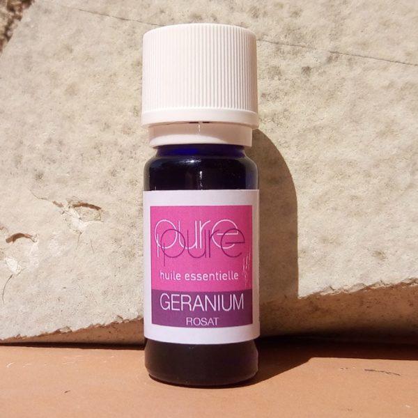 Flacon huile essentielle bio geranium rosat